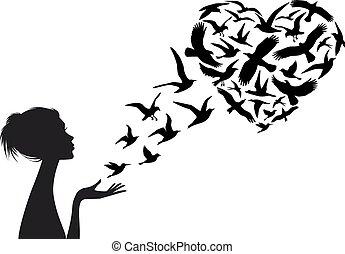 Herz geformte fliegende Vögel, Vektor.