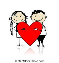 herz, groß, paar, valentine, day., design, dein, rotes