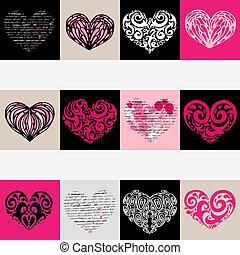 Herz-Illustrations-Set. Liebe. Vector Hintergrund.