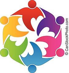 herz, liebe, leute, gemeinschaftsarbeit, logo, freundschaft
