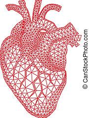 Herz mit geometrischem Muster, vecto.