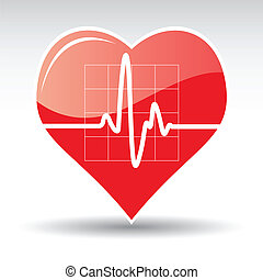 Herz mit Kardiogramm