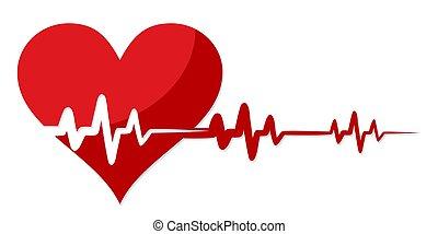 Herz mit Kardiogramm.