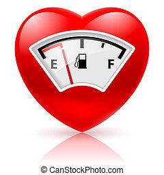 Herz mit Treibstoffanzeige.