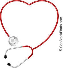 herz, symbol, stethoskop