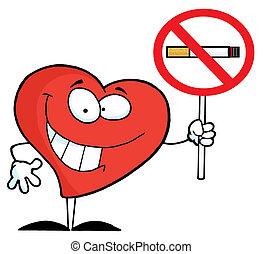 herz, zeichen, halten aufwärts, rauchen