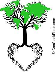 Herzbaum mit grüner Weltkarte.