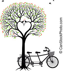 Herzbaum mit Vögeln und Fahrrad.
