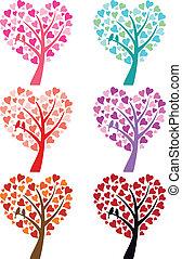 Herzbaum mit Vögeln, Vektor