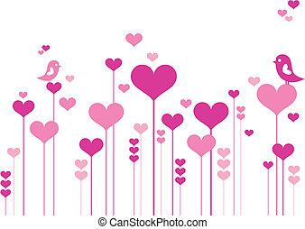 Herzblumen mit Vögeln