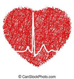 Herzchen mit Herzschlag. EPS 8
