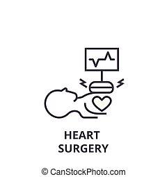 Herzchirurgie dünne Linie Icon, Zeichen, Symbol, Illustation, lineares Konzept, Vektor.