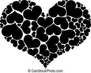 Herzformen bilden ein großes Herz, isoliert auf weißem Hintergrund.