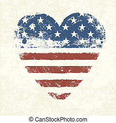 Herzformierte amerikanische Flagge. Vector, EPS10