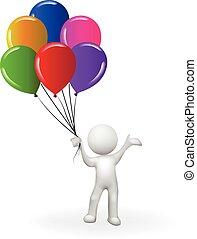 Herzlichen Glückwunsch zum Geburtstag 3D Weiße mit einem Haufen Ballons.