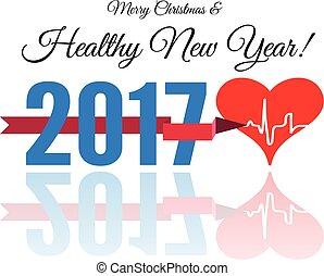 Herzlichen Glückwunsch zum gesunden neuen Jahr mit Herz und Herz. Vector Illustration