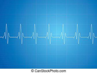Herzschlag auf blauem Hintergrund.