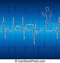 Herzschlag im blauen Hintergrund