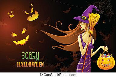 Hexe in Halloween-Nacht