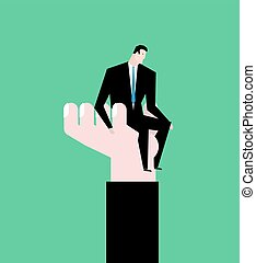 hilfe, geschaeftswelt, hand., -, vorgesetzter, portion, businessman., allegorie, angestellter, protege