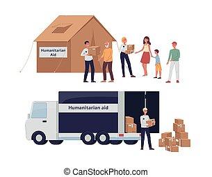 hilfe, karikatur, freiwilligenarbeit, geben, pappkartons, -, sachspenden, humanitär