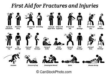 hilfe, stecken figur, icons., koerperteile, brüche, verschieden, zuerst, verletzungen