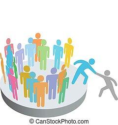 Hilfskräfte helfen Menschen bei der Gesellschaftsgruppe