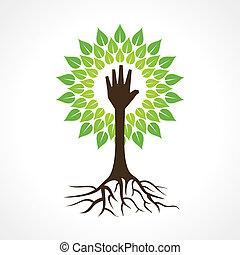 Hilft Hand zu machen Baum.