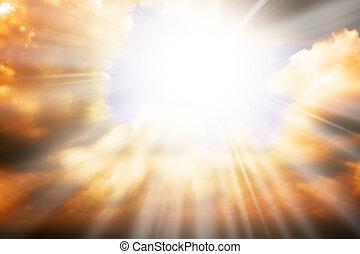 Himmelreligion - Sonnenstrahlen und Himmel