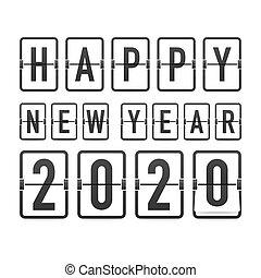 hintergrund., 2020., jahr, karten., schablone, uhr, countdown, retro, gruß, schwarz, illustration., vektor, neu , schnellen