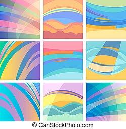 Hintergrund abstraktes Pastelldesign Set.