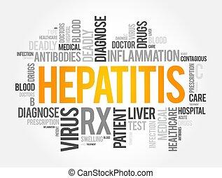 hintergrund, begriff, wort, wolke, collage, hepatitis, gesundheit