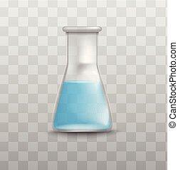 hintergrund, chemie, trinkbecher, blaues glas, flüssiglkeit, freigestellt, labor, durchsichtig