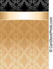 Hintergrund, goldenes Band, nahtloses Blumenmuster