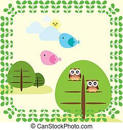 Hintergrund mit Bäumen und Vögeln.