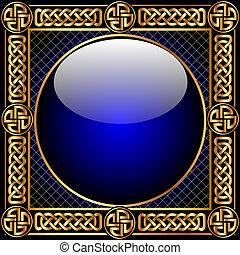 Hintergrund mit Glasball und Gold(en) Muster