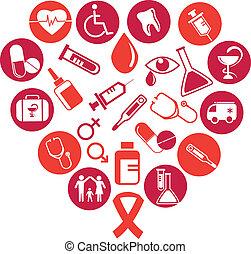 Hintergrund mit medizinischen Ikonen und Elementen