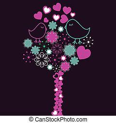 Hintergrund mit rosa Baum und Vögeln
