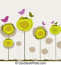 Hintergrund mit Vögeln, Baum. Vektor Illustration