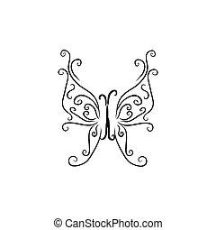 hintergrund., papillon, zeichen, korporativ, logo, schablone, weißes, identität, freigestellt, design, brandmarken