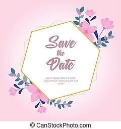 hintergrund, rosa blüten, wedding, datum, gruß, natur, karte, retten, schnörkel