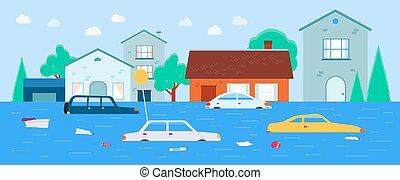 hintergrund., vektor, ueberschwemmung, abbildung, häusser, unter, wohnung, bewässern transport