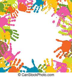 Hintergrundabzug, Abdrücke von Händen des Kindes, Vektor