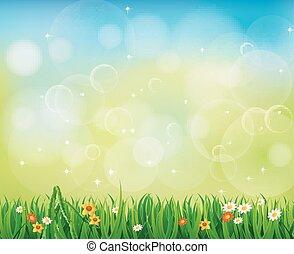 Hintergrundgrünes Gras.