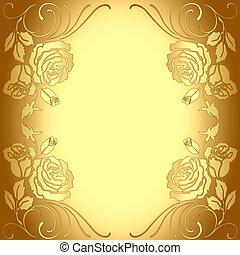 Hintergrundrahmen mit goldenem Rosenmuster