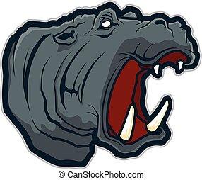 Hippo-Kopf-Maskottchen.