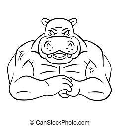 Hippo starkes Maskottchen.