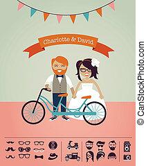 Hipster Hochzeit - entwerfen Sie Ihre eigene Einladungskarte