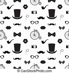 Hipster schwarz und weiß nahtlos Muster.