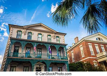 Historische Gebäude in der Innenstadt Charleston, South Carolina.